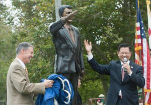 Life Size Bronze Ronald Reagan for Mile Square Park in Orange County California.