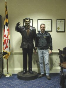 Bronze Life-Size Ronald Reagan on board the USS Ronald Reagan Donated by us All Classics Ltd