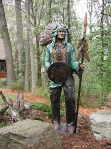 Indian holding spear for Kickapoo High School