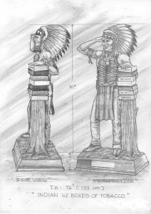 General Cigar Promotional 6ft Cigar Store Indian Promotion sketch design