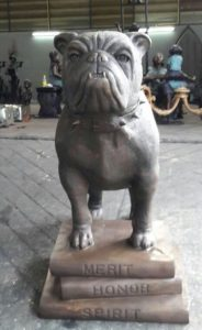 Bronze Spike bulldog mascot for Montclair High School in Montclair NJ by www.allclassics.com in Newark Delaware